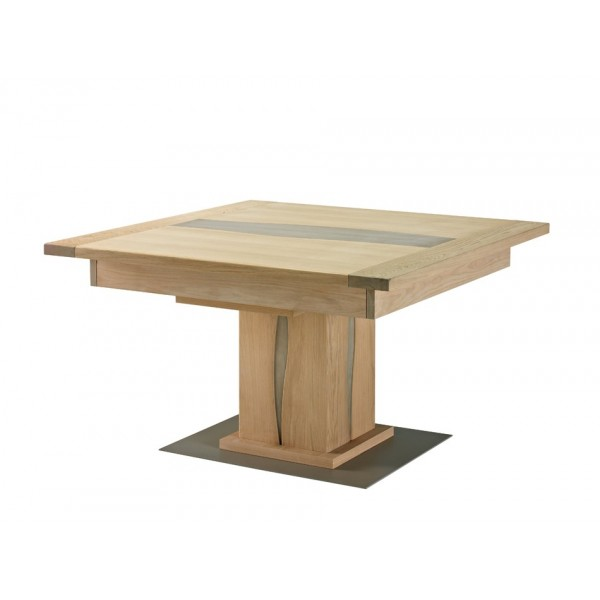 Table carr ch ne massif la maison design - Table pied central avec allonge ...